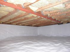 We turned a mucky crawl space into extra storage room. Storage Room, Diy Storage, Extra Storage, Storage Ideas, Crawl Space Repair, Crawl Space Encapsulation, Crawl Spaces, Vinyl Siding, Home Repairs