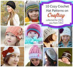 10 Cozy #Crochet Hat Patterns on Craftsy via Fiber Flux