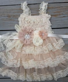 Rustic Flower Girl Dress -Lace Flower GirlRustic Flower Girl/Country Flower Girl Dress Cream/Wheat Champagne Wedding-Vintage Wedding-Sash on Etsy, $52.50