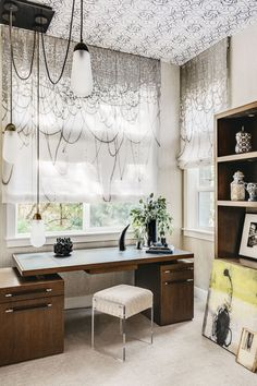 Home office with wallpapered ceiling, graphic shades, and contemporary wood desk, Office Decor, Home Office, Office Ideas, Wallpaper Ceiling, Office Wallpaper, Contemporary Chandelier, Contemporary Art, Concept Home, Formal Living Rooms