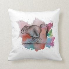 Running cat & spilled paint - watercolor. throw pillow begginer running plan, getting back into running, cycling tips #runningtips #wellnessblog #coloradoblogger, back to school, aesthetic wallpaper, y2k fashion Getting Back Into Running, Running Gifts, Traditional Paintings, Custom Pillows, Aesthetic Wallpapers, Cute Animals, Running Plan, Cycling Tips, Watercolor