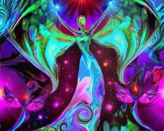 Rainbow Psychedelic Angel Art Reiki Sun von primalpainter auf Etsy