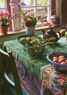 Rustic bohemian kitchen design with floral backtile besides purple rug on white floor decoration blended with steel pendant lamps besides wooden cooking table idea. - Dream Homes Today Bohemian Kitchen, Bohemian Decor, Hippie Bohemian, Gypsy Kitchen, Bohemian Interior, Boho Gypsy, Bohemian Office, Deco Boheme Chic, Elsie De Wolfe