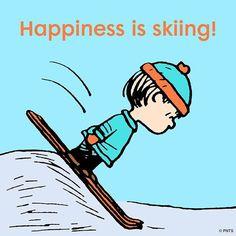 Snoopy/Peanuts - Happiness is skiing Alpine Skiing, Snow Skiing, Lac Louise, Skiing Quotes, Kite Surf, Vintage Ski Posters, Ski Decor, Ski Bunnies, Ski Racing