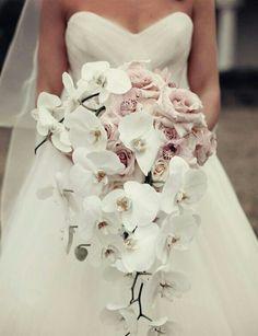 {Incredible Cascading Bouquet Showcasing Lavender Roses, Lavender Orchids, White Roses, & White Orchids}