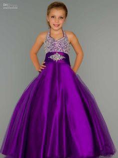 Hot Sale Purple Halter Girls Pageant Dresses 2015 custom made backless girls pageant gown flower girl dress