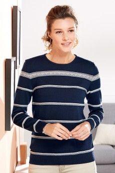 Le pull laine femme rayé