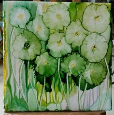 Soft petal flowers in green, aqua, pink and yellow alcohol ink on 6x6 tile by Tina. Love the soft petals