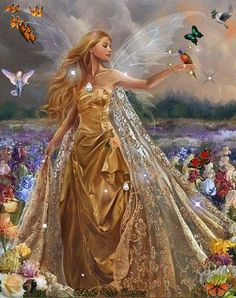My Private Chambers Magical Day [woman in golden princess dress with silvery fairy wings surrounded by butterflies and birds and fields of flowers]<br> Foto Fantasy, Fantasy Magic, Fantasy World, Fantasy Art, Magical Creatures, Fantasy Creatures, Elfen Fantasy, Golden Princess, Princess Art