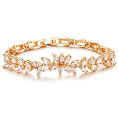 Qinggetme Women Zircon Fine Diamond Plated 18K Gold Wheat Handmade Trinkets Bracelet ** Learn more by visiting the image link.