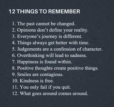 12 things to remember!