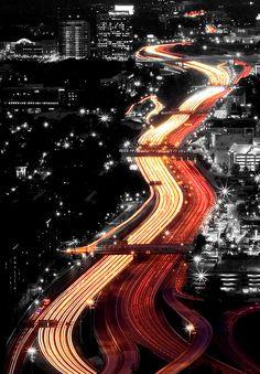highway. night. traffic. timelapse