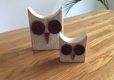 Pair of white rustic wooden owls by Radlins on Etsy