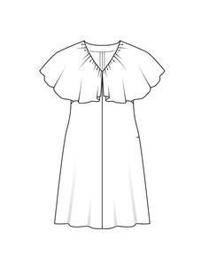 Платье с v-образным вырезом - выкройка № 127 А из журнала 8/2015 Burda – выкройки платьев на Burdastyle.ru