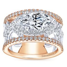 Rynetta 18k White And Rose Gold Marquise Halo Engagement Ring angle 5