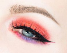 bright orange and purple #EyeMakeupParty #EyeMakeupCutCrease Bright Eye Makeup, Subtle Makeup, Natural Eye Makeup, Colorful Makeup, Eye Makeup Cut Crease, Smokey Eye Makeup, Alcohol Free Toner, Neutral Eyes, Sexy Makeup