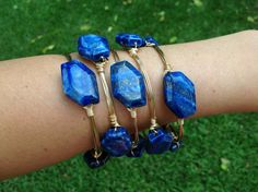 Natural Lapis Blue Stone Wire Wrapped Gold Bangle Stackable Bracelet