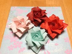 Origami Paper Roses (for those that have a LOT of patience & dexterity) Origami Star Box, Origami And Kirigami, Origami Rose, Origami Ball, Origami Dragon, Origami Paper, Paper Flowers Diy, Paper Roses, Flower Crafts