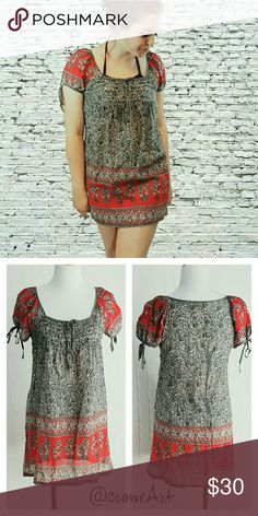 "Gray & Red Bohemian Tunic Boho tunic, gray ornate floral designs with red and gold accents, blousy sleeves, soft and lightweight cotton, squared neckline.   Size Small. Bust 32"" Waist 36"" Length 25"". No stretch. All measurements are flat lay. Twenty One Tops Tunics"