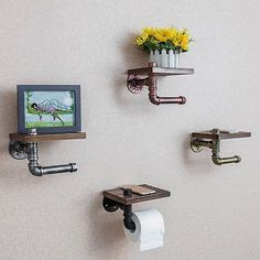 ove the idea of decorating with creative toilet roll hangers! Vintage Industrial Style Iron Pipe Toilet Paper Holder Roller With Wood Shelf Wooden Storage Shelves, Oak Shelves, Wood Wall Shelf, Unique Toilet Paper Holder, Toilet Paper Roll Holder, Rustic Toilets, Shelves For Sale, Industrial Style, Vintage Industrial