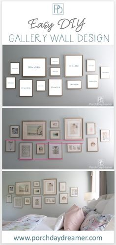 a Gallery Wall That Looks Like a Designer Did It! Create a Gallery Wall That Looks Like a Designer Did It!Create a Gallery Wall That Looks Like a Designer Did It! Gallery Wall Bedroom, Gallery Wall Layout, Photo Gallery Walls, Photo Wall Layout, Photo Wall Galleries, Gallery Wall Art, Photo Wall Design, House Wall Design, Eclectic Gallery Wall