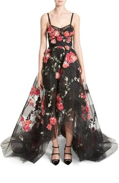 Free shipping and returns on Marchesa Embellished Tulle Gown at Nordstrom.com. Dimensional, layered blossoms float and flutter on a diaphanous gown that balances a sheer corset bodice with a full, ankle-baring skirt. Artful beadwork and tonal sequins elevate the botanical beauty, casting a gorgeous glow over the delicate, curve-skimming surface.