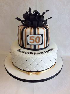 Inspiration Image of Birthday Cake For Man . Birthday Cake For Man Parcel Style Top Tier For This 2 Tier Black And Gold Themed Birthday Black And Gold Birthday Cake, Green Birthday Cakes, 50th Birthday Cakes For Men, 2 Tier Birthday Cakes, Black And Gold Cake, 50th Cake, 50 Birthday, Bolo Cake, Elegant Cakes