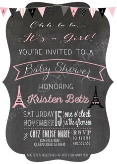 Paris Chalkboard Baby Shower Invitation by SavvyDeetsDesigns