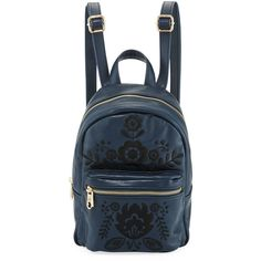 Cynthia Rowley Knox Mini Embroidered Backpack ($42) ❤ liked on Polyvore featuring bags, backpacks, navy, navy blue bag, flat backpack, navy backpack, top handle bags and navy bag