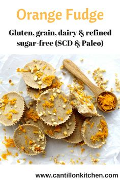 Orange Fudge - Hard to believe this is free from: gluten, grains, dairy and refined sugar. Paleo & Specific Carbohydrate Diet-frendly too! Specific Carbohydrate Diet, Scd Recipes, Vegetarian Paleo, Fudge, Sugar Free, Almond, Dairy, Coconut, Snacks