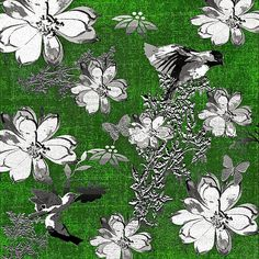 Birds and Magnolias Toil Green Pattern