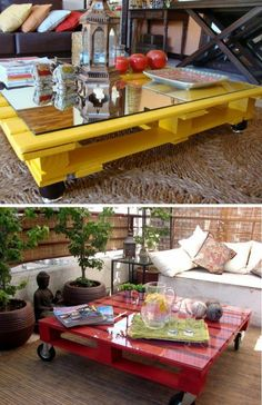 tavolino giallo pallet