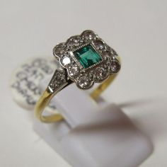 Vintage Art Deco 1920s 18ct Gold and Platinum Diamond and Emerald Ring | Gems Gallery