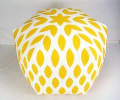 "25"" Floor Ottoman Pouf Pillow Yellow & White - Chipper Ikat Contemporary Modern Print. $135.00, via Etsy."