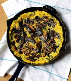 Healthy Dinner: Vegan Polenta Mushroom Pancake