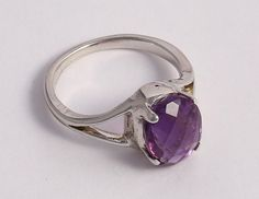 Natural Oval Amethyst Genuine Gemstone 925 Solid Sterling Silver Ring Size 8.5 #Handmade #Ring