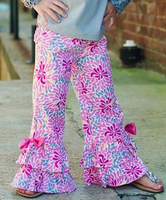 Pink & Blue Aaliyah Ruffle Pants - Infant, Toddler & Girls by RuffleButts #zulily #zulilyfinds