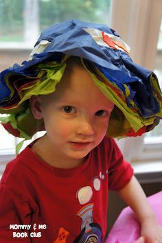 Mommy and Me Book Club: Make Tissue Paper Hats...great activity for preschoolers who love to squeeze glue bottles!