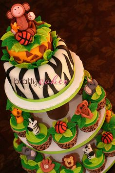 Jungle/Sports Cupcake Tower by Natty-Cakes (Natalie), via Flickr