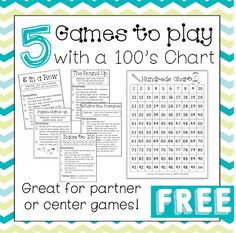 5 Games to Play with a Hundreds Chart  A Hundreds chart is a staple in almost any elementary classroom. Use your hundreds chart with these 5 fun and interactive games! Great for partner or center work!  hundred chart math centers math games