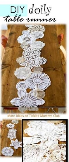 How beautiful this vintage inspired doily table runner is!!