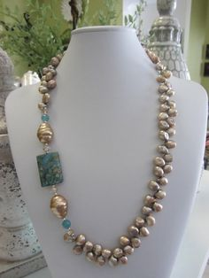 Cultured Pearl With Fancy Jasper And Mother Of by JKCustomDesigns