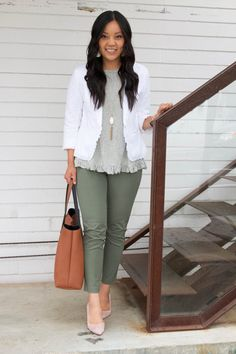 to Wear a White Blazer: Outfits for an Office or Date White Ruffle Blazer and Olive Pants Business Casual outfit Casual Outfits 2018, Business Casual Outfits, Business Attire, Classy Outfits, Office Outfits, Business Fashion, Summer Business Casual, Casual Friday Work Outfits, Night Outfits