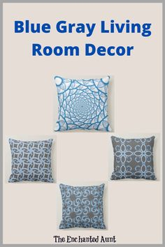 Decorative modern abstract art pattern in blue, gray and white throw pillows. This simple elegant design is a great addition to any living space, such as a living room or bedroom spaces. The blue pattern cannot be changed, but the gray background can be changed to any color.  #decorativethrowpillows #decoratinginblue #bluehome #decorblue #pillowsdecorativeoncouch #decoratingwiththrowpillows