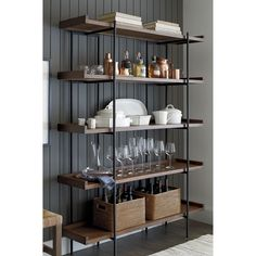 Super Crate And Barrel Dining Room Shelves Ideas Dining Room Shelves, Bookcase Shelves, Wood Shelves, Kitchen Bookshelf, Kitchen Racks, Glass Shelves, Bookcases, Kitchen Storage, Kitchen Cabinets