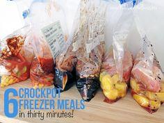 Six Freezer Crockpot Meals in Thirty Minutes