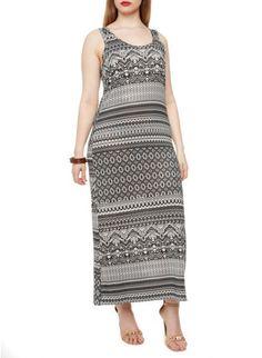 Plus Size Sleeveless Bodycon Maxi Dress with Tribal Print
