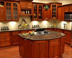 Shaker Cherry Kitchen Cabinets, Brown Countertops, Wood Floors And Light  Backsplash Part 98