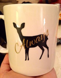 "Harry Potter inspired ""always"" coffee mug. Shape & Lilly patronus  on Etsy, $12.00"
