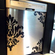 Damask Dishwasher Decal by DivaDecalsandDesign on Etsy, $23.00 for the refrigerator to mask the scuffs??